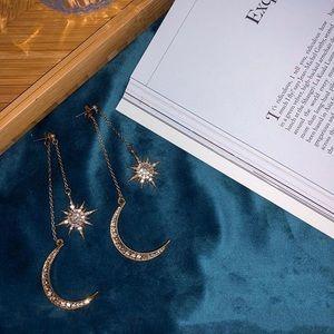 Celestial Moon & Star Drop Earrings